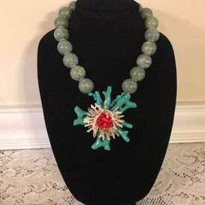 Natasha Faux Coral Beaded Statement Necklace (H)